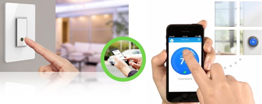 왼쪽 벨킨 WeMo Light Switch - IoT 전등 스위치, 오른쪽 Nest Thermostat - IoT 학습형 온도조절기